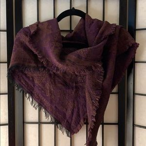 Purple patterned triangle scarf